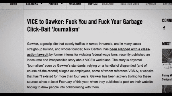 An article in which VICE news insults and exposes the practices of Gawker,