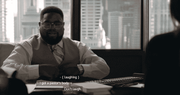 """Insecure: Season 2/ Episode 5 """"Hella Shook"""" - Lil Rel's character talking about he has a pastor's body as he questions why Molly stays at the LA office."""