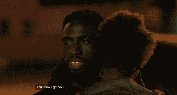 """Insecure: Season 2/ Episode 5 """"Hella Shook"""" - Daniel after coming to the site of Issa's car accident, consoling her."""