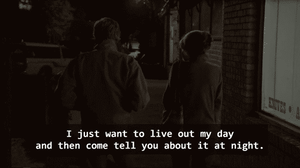 Louis (Robert Redford) and Addie (Jane Fonda) walking down a street and Louis noting he just wants to live out his day then tell her about it at night.