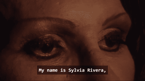 An image of Sylvia Rivera's face between her nose and eye brows.