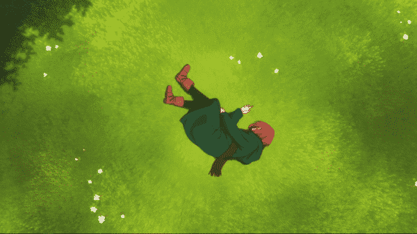 Chise laying in a field exhausted.