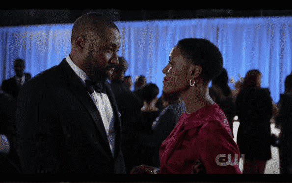 Jefferson (Cress Williams) and Lynn (Christine Adams) on Black Lightning
