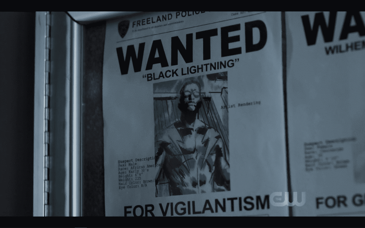 A Black Lightning Wanted Poster.