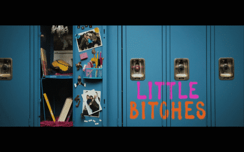 An alternative title card to the movie Little Bitches