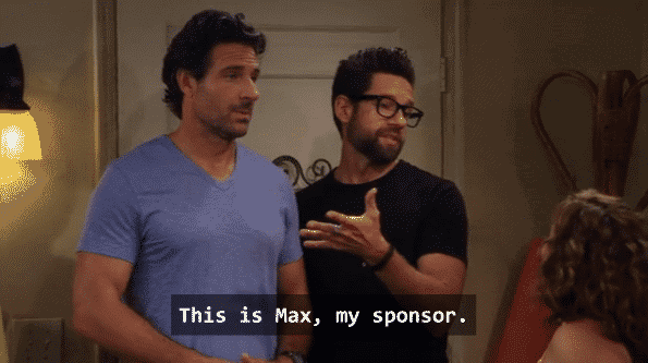 Schneider introducing Max as his AA sponsor to hide the fact he was hiding from Penelope's family and got caught.