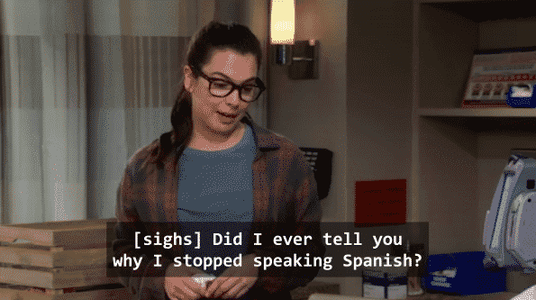 Elena beginning her story on why she stopped speaking Spanish.