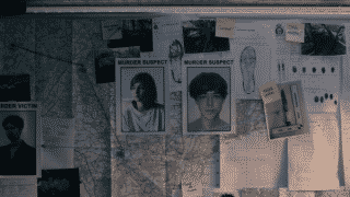 The End of the Fing World - Alyssa and James' names on a corkboard noting they are murder suspects
