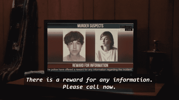 James and Alyssa being shown as wanted murder suspects with an award for information.