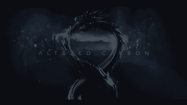 The Altered Carbon Title Card featuring a dragon biting its tail.