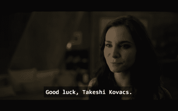 Kristin wishing Takeshi goodluck.