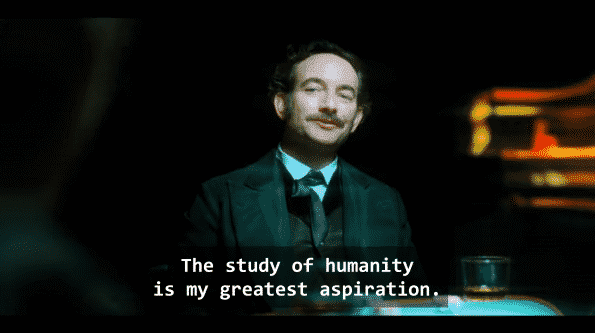 Chris Conner as Poe talking about how his greatest aspiration is the study of humanity.