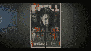 A poster of Quell before a Envoy museum exhibit.