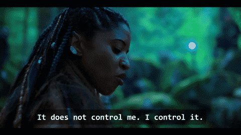 Quell noting who she controls her sleeve, not the other way around.