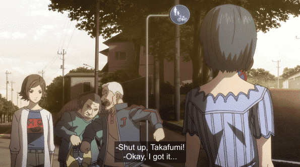 Grandpa yelling at Takafumi for being an idiot.