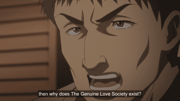 One of the disciples asking why does the Genuine Love Society exist?