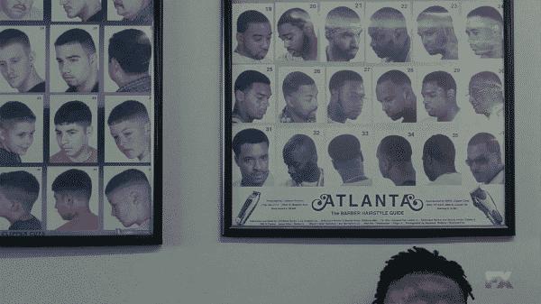 "Barbershop haircut examples with ""Atlanta"" logo."