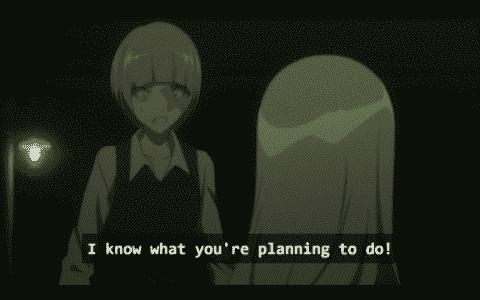 Kukuri threatening Minatsuki with information they have.
