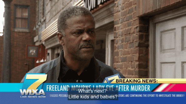 A man being interviewed about the Lady Eve murder and saying negative things about Black Lightning.