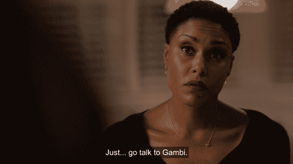 Lynn telling Jefferson to go talk to Gambi.