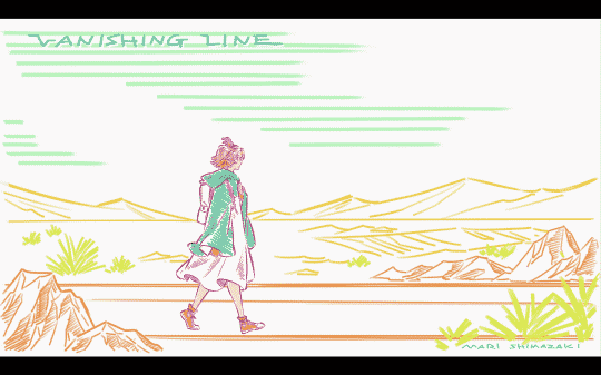 Sophie walking alone in a mid-title card.