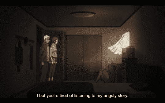 Sagawa noting how tired Grandpa and Juri must be of his story.