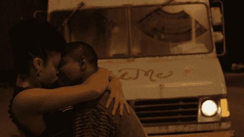 Jerrika and Brandon kissing.
