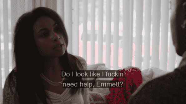 Tiffany yelling at Emmett for being in her business.