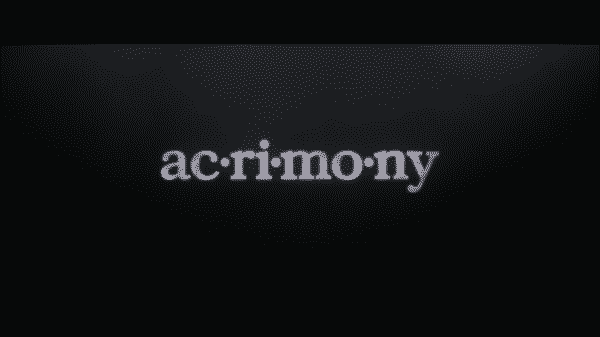 Title card for Tyler Perry's Acrimony.