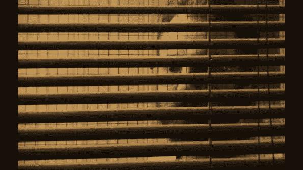 George, or David, peering through blinders in a creepy way.