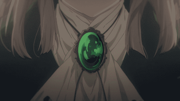 Violet's gift from Major, the emerald pendant.