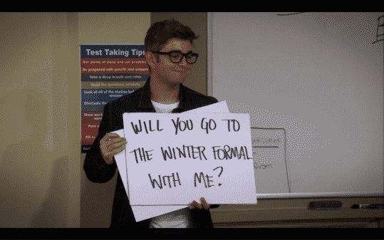 Dylan asking Alexa to the winter formal.