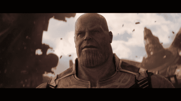 Josh Brolin as Thanos getting ready for a fight.