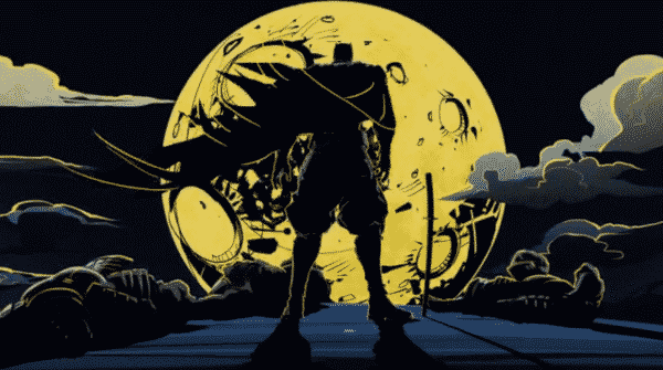 Batman facing a yellow moon.