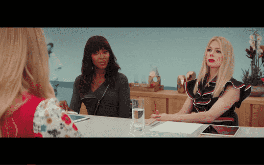 Avery and her CFO, played by Naomi Campbell, interviewing Renee.