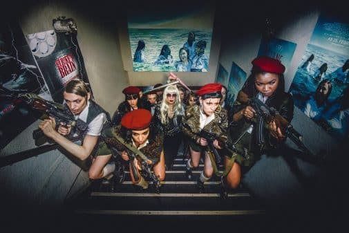 The ladies of The Misandrists storming a theater.
