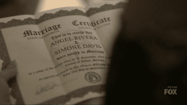Simone and Angel's marriage certificate.