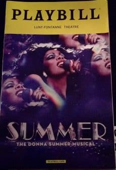 The playbill for Summer: The Donna Summer Musical.