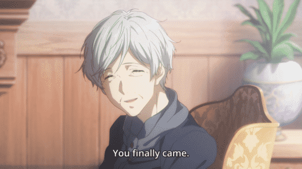 """Gilbert and Diethard's mom smiling and saying, """"You finally came"""" to Violet."""