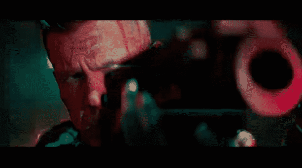 Cable aiming his gun at someone.