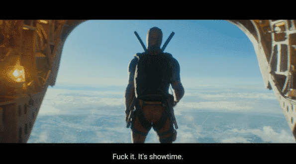 Deadpool before jumping out of a plane.