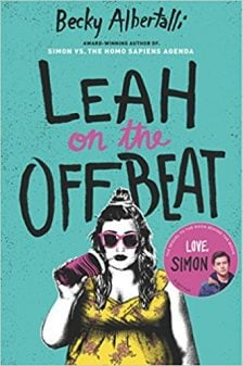 "The book cover for Becky Albertalli's book, ""Leah on the Offbeat."""