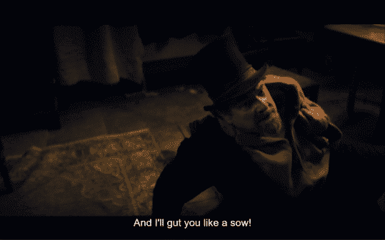 Arthur threatening Mrs. Appleyard when she betrays him.