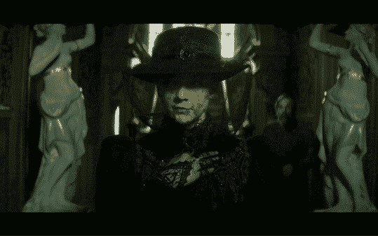 Hester Appleyard, played by Natalie Dormer, in widow's attire.