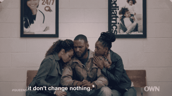 Charley and Nova consoling Ralph Angel as he learns, officially, he isn't Blue's biological father.
