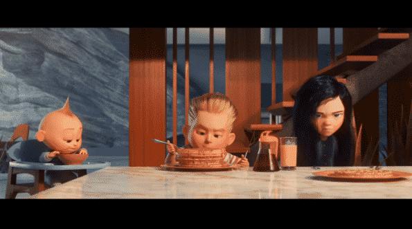 Jack-Jack. Dash, and Violet having breakfast.