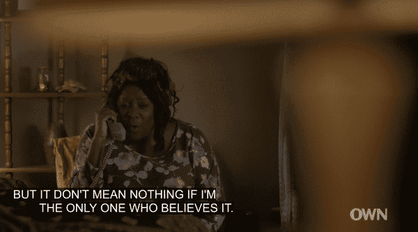 Betty trying to encourage Yasir and not be the only one who believes in him.