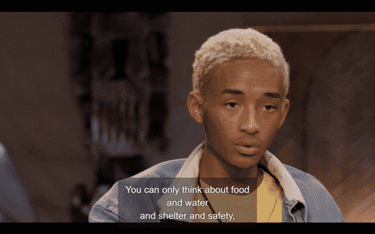 Jaden comparing the thoughts and life his parents had growing up to the one he and willing have.
