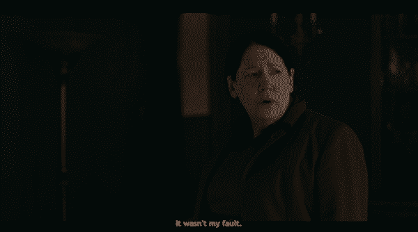 Aunt Lydia noting the death of her nephew wasn't her fault.