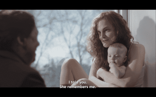 Janine talking to Aunt Lydia about her baby remembering her.
